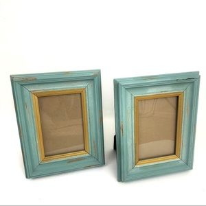 Pier 1 Distressed Wood Blue Gold Picture Frame Set